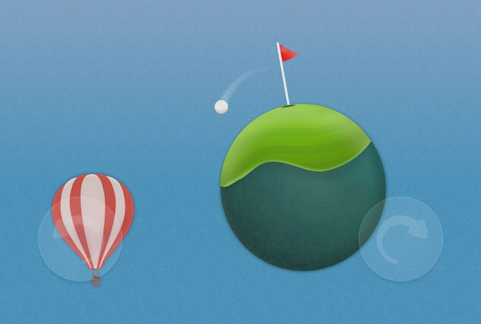 Golf Skies is a casual golf game featuring planetoids
