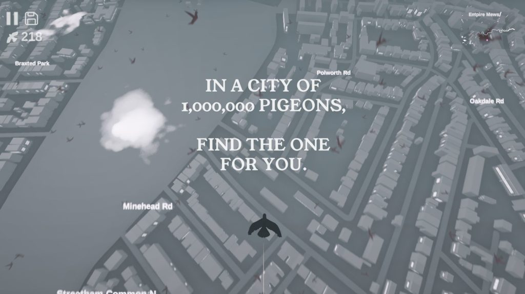 Pigeon: A Love Story will let you explore a full-scale live-stream London map in search of love, coming next month on Android